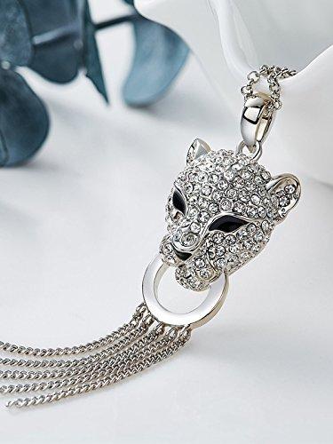 Sophie's Choice Swarovski Crystals Leopard Head Tassels Necklace