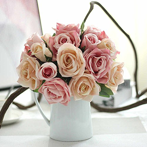 Fake Flowers Silk Plastic Artificial Roses 9 Heads Bridal Wedding Bouquet for Home Garden Party Wedding Decoration (Pink Champagne) (Champagne Roses)