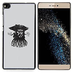 - Pirate Sea Captain Watercolor Black - - Snap-On Rugged Hard Cover Case Funny HouseFOR HUAWEI P8
