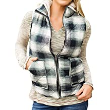 LuShmily Women's Sleeveless Zip-up Plaid Quilted Vest Coats Jacket
