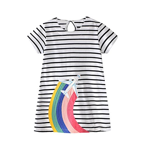 (FEITONG Toddler Baby Kid Girl Rainbow Embroidery Dress Stripe Dress Outfit Clothes (White, 2-3T))