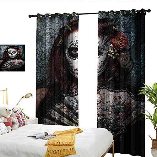 WinfreyDecor Day of The Dead Thermal Curtains Make up Artist Girl with Dead Skull Scary Mask Roses Artwork Print 70%-80% Light Shading, 2 Panels,W84 x L108 ()