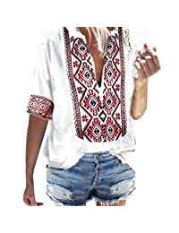 iYYVV Womens African Style Boho Half Sleeve Deep V-Neck Vintage Tops T-Shirt Blouse