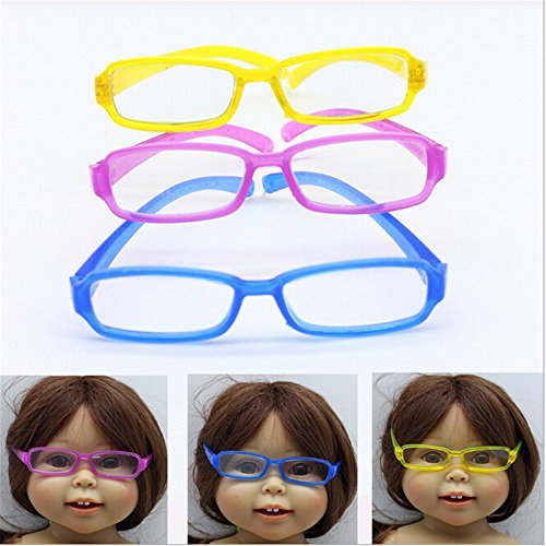 3 Pcs American Girl Doll Accessories Sunglass(With Lens) Yellow/Blue/Purple For 18 Inch Dolls