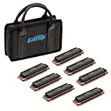 Easttop 10 Hole Blues Harp Harmonica Set of 7 Keys for Professional Player, Beginner, Students, Children, Kids,Best Christmas Gift (7)
