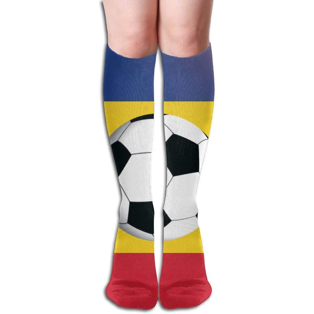 LoveBiuBiu Football On The National Flag Of Romania Women's Fashion Knee High Socks Casual Socks 8723027080603