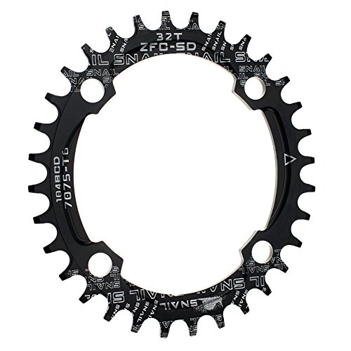 CYSKY Narrow Wide Chainring Oval 104BCD 32T 4 Bolts Bike Single Speed Chainring Perfect for Most Bicycle Road Bike Mountain Bike BMX MTB Fixie Track Fixed-Gear Bicycle (Black)