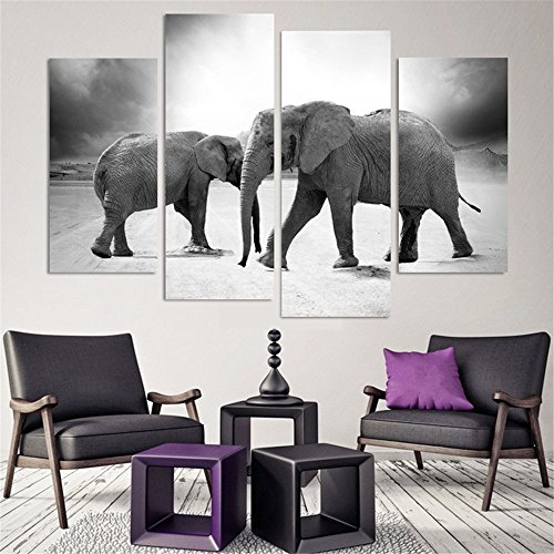 4 Panels Modern Abstract Art Painting For Home Decor Two Elephants HD Paintings Animal Framed Canvas Wall Art Modern Picture Living Room Decor Gift Pieces Framed Oil Painting Ready To Hang