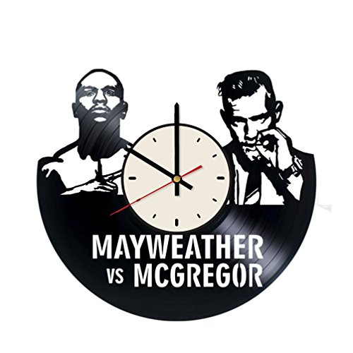 Floyd Mayweather Jr. vs. Conor McGregor vinyl record wall clock artwork gift idea for birthday, christmas, women, men, friends, girlfriend boyfriend and teens - living kids room nursery (Boxing Floyd Mayweather Jr Vs Conor Mcgregor)