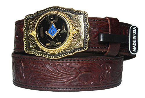 Custom Masonic Working Tools 1 1/2 inch Mahogany western Belt with Buckle. Made in the USA Size 46 (Custom Made Belt Buckles)