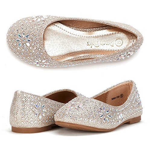 Dream Pairs Little Kid Nina-100 Gold Glitter Girl's Mary Jane Ballerina Flat Shoes - 11 M US Little Kid
