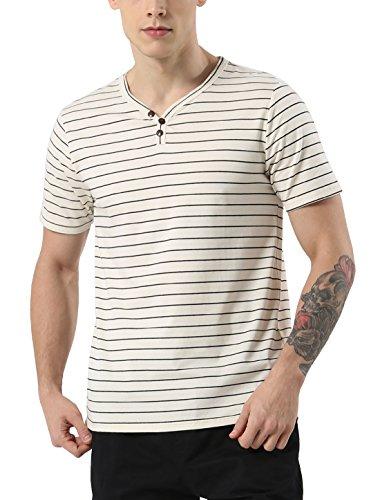 uxcell Men V Neck 3 Button Striped Short Sleeve Top Cotton Henley Shirts Beige M (US 40)