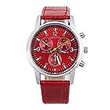 Watches - GENEVA Fashion Women Men Watches Leather Band Analog Dial Quartz Wrist Watch Colour:Red