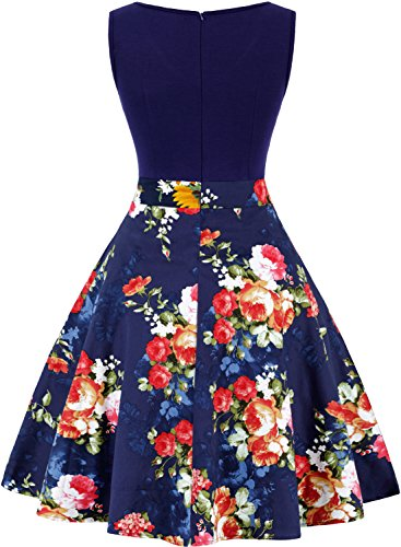 Blue Floral Neck Party Sleeveless Eveing Dresse Flare V OTEN Casual Women's Contrast wFBw4P