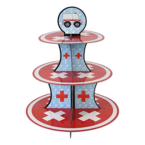 (Doctor Cupcake Stand & Pick Kit, Nurse Party Supplies, Doctor Decorations, Birthdays, Ambulance, Medical Theme, Graduations, Cake Decorations, 3 Tier Cardboard)