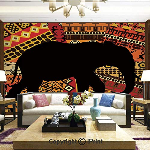 Wallpaper Nature Poster Art Photo Decor Wall Mural for Living Room,Animal Theme Design Elephant Silhouette on Ethnic Textures Pattern Print,Home Decor - 100x144 inches ()