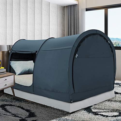 Bed Tent Dream Tents Bed Canopy Shelter Cabin Indoor Privacy Pop Up Warm Breathable Full Size for Kids and Adult Patent Pending PitchBlack(Mattress Not Included)