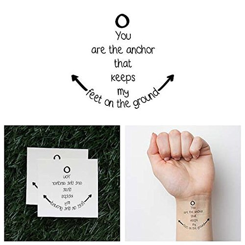 Tattify Cute Anchor Quote Temporary Tattoo - Foundation (Set of 2) - Other Styles Available - Fashionable Temporary Tattoos - Long Lasting and Waterproof (Quotes Temporary Tattoos)