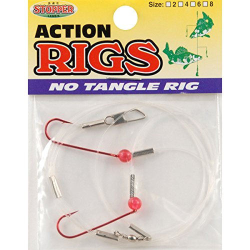 K & E Tackle Perch & Crappie Ice Fishing No Tangle Rig, Red, Size 4 (Ice Fish Crappie)