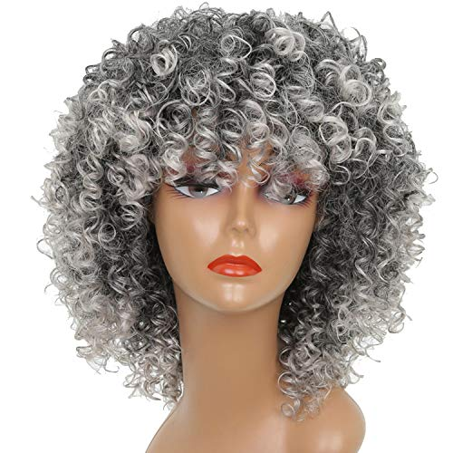 Long Red Black Afro Wig Kinky Curly Wigs for Black Women Blonde Mixed Brown 250g Synthetic Wigs,642-Grey,18inches]()