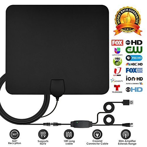 TV Antenna, 2018 UPGRADE Digital HD Indoor TV Antenna 50-80 Mile Range 4K HD Freeview Local Channels & Detachable Amplifier and 10+2.62 ft Coax Cable by INTEYE