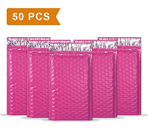 Mailer Plus #000 4x8' Poly Bubble Mailers Self Seal Pink Padded Envelopes Pack of 50