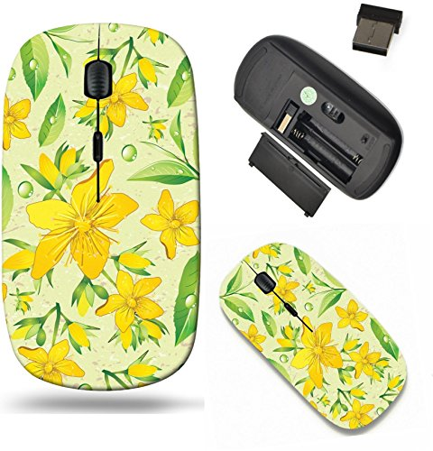 Liili Wireless Mouse Travel 2.4G Wireless Mice with USB Receiver, Click with 1000 DPI for notebook, pc, laptop, computer, mac book Elegance Seamless beige and Hypericum with green