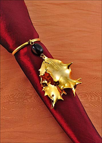 Beaded Holly Napkin Holder/Wine Charm in Gold, Real Leaf Napkin Holder | Leaf Wine Charms