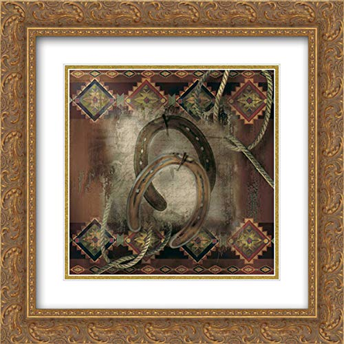 Gold Double Horseshoe - Western Horseshoe 15x15 Gold Ornate Frame and Double Matted Art Print by Lee, Alma