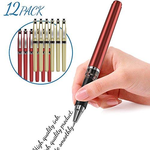 Black Ink Roller Ball Pen Lightweight 0.5mm Gel Pen Light Ball-Point Pen Refillable Neuter Pen Veerunsi (12 Packs)