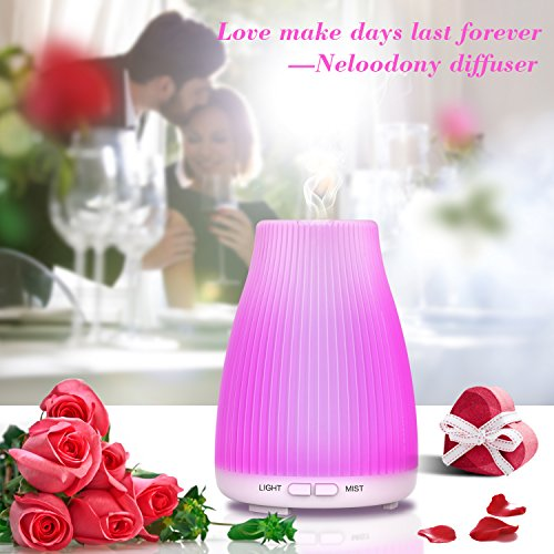 Aromatherapy Essential Oil Diffuser 100mL Diffusers For Essential Oils,Neloodony Ultrasonic Diffuser With 8 Colors LED Light, Waterless Auto Shut-off and Adjustable Mist Mode For Bedroom Office Study