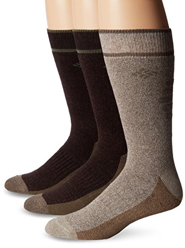 Columbia Men's Cotton Crew, Khaki/Brown, 10-13 Sock Size (Shoe Size 6-12) 3 pack