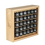 AllSpice Wooden Spice Rack, Includes 30 4oz Jars- Maple