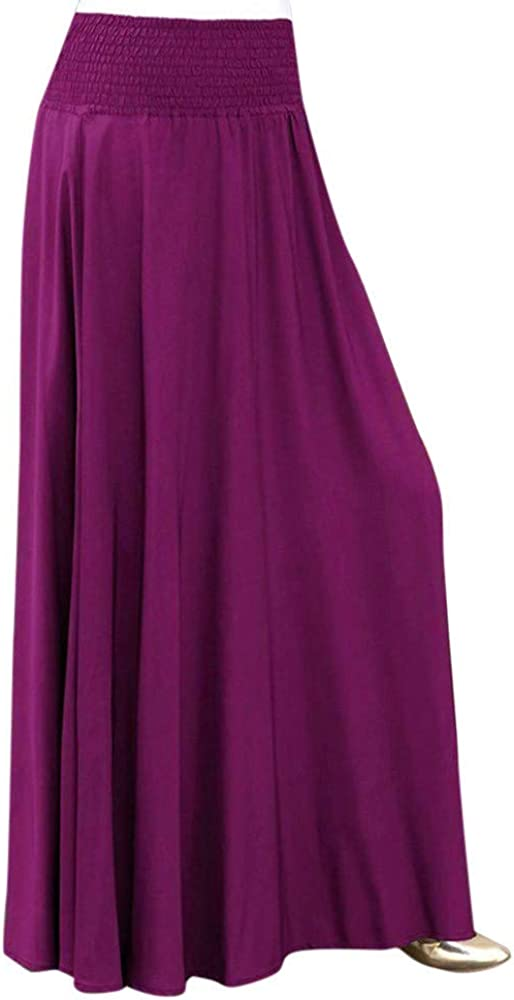 KangCat Women Maxi Skirts Elastic Waist Solid Color Pleated Skirt Vintage A-line Loose Long Skirts Midi Skirt