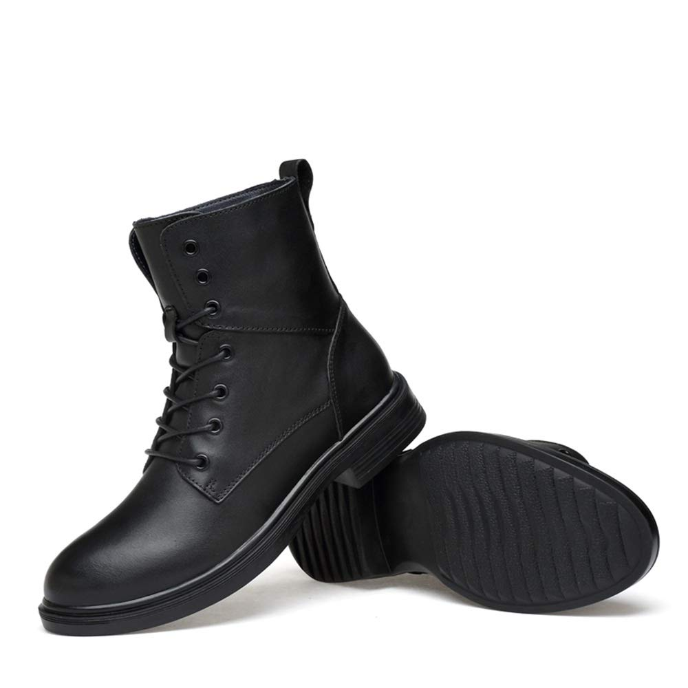 HILOTU-Herrenstiefel - Winterstiefel für für für Herren Pelzgefütterte warme Stiefeletten Herren Leder Stiefeletten Schuhe (Farbe   Schwarz, Größe   49 EU) 47116f