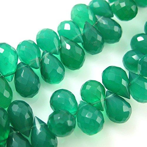 Semi Precious Gemstone Beads-Teardrop Shape -Grade A Faceted Green Onyx Gemstone Briolettes-10mm ( 5 Pcs) (Gemstone Teardrop Briolette)