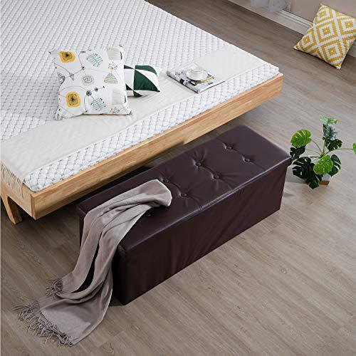 Samincom 43.3 L x 15 W x 14.17 H Classics Foldable Tufted Storage Ottoman Bench, Brown