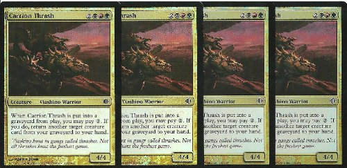 - MTG Shards of Alara CARRION THRUSH Foil Common Gold Playset of 4