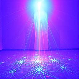 NEW SUNY Red Green Laser 16 Gobos Effect Blue LED Professional Projector Sound Active Remote-Controlled Stage Light for DJ Disco Home Show Carnival Party (Z16RG)