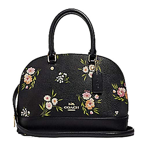 (Coach Mini Sierra Satchel with Tossed Daisy Print Black Pink)