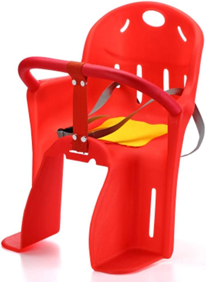 Colorful Kids Rear Bicycle Seat Stainless Steel fixed Steel Pipe and Oversized Foot Pedal Bike Saddle with Seat Belt QYDM Child Bike Seat