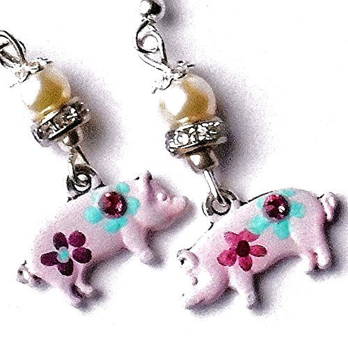 Pink Pig Dangle Earrings with Hand Painted Flowers and Swarovski Crystal Rhinestones -