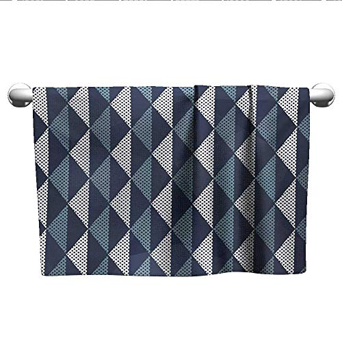 (Bensonsve Pattern Hand Towels Geometric,Rhombuses and Dots Composition of Abstract Shapes Retro Revival,Bluegrey Dark Blue White,Hooded Towel for Girls)