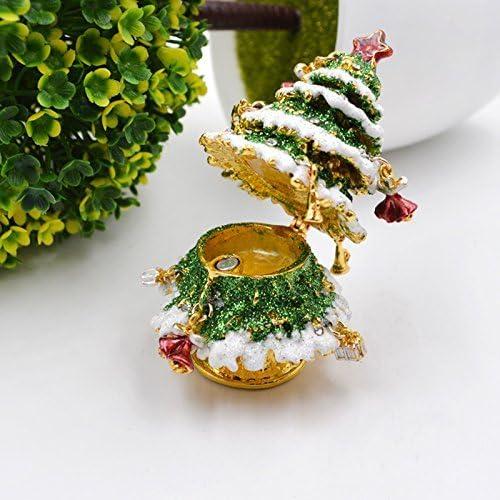 by LA HAUTE Christmas Tree LA HAUTE Beautiful Pattern Crystal Studded Pewter Jewellery Trinket Box with Gift Box