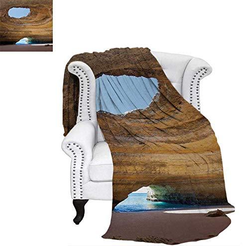Print Artwork Image Sea Cave of Benagil in Algarve Portugal Idyllic Sandy Rocky Landscape Warm Microfiber All Season Blanket 70