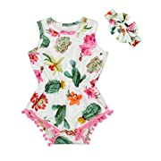 Anbaby Baby Girls Cute Romper Bodysuit Clothes (6-12Months, Cactus)