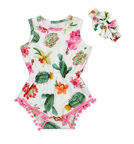 Anbaby Baby Girls Cute Romper Bodysuit Clothes (6-12Months, Cactus) -