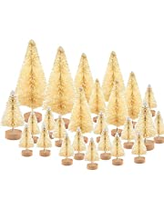 KUUQA Multicolor Mini Sisal Trees Bottle Brush Trees Mini Pine Trees with Wood Base Snow Frosted Trees Winter Snow Ornaments Tabletop Trees for DIY Room Decor Diorama Models (6 Colors)