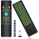 [7-Color LED] Air Remote Mouse Mini Keyboard Remote Control with Touchpad,RC T6+ 2.4GHz Wireless USB Remote Backlit for Kodi Box,Windows 10,Linux,Android TV Box,Mini PC,Mac,Laptop,HTPC,Raspberry Pi 3