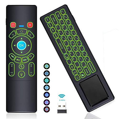 [7-Color LED] Air Remote Mouse Backlit Mini Keyboard Remote Touchpad Hometheater Remote Control,RC T6+ 2.4GHz Wireless USB Remote for Kodi,Linux,Android TV Box,Mini PC,Mac,Laptop,HTPC,Raspberry Pi 3 by iTouchBerry